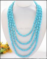 "long 100"" 12mm nature blue bone turquoise bead NECKLACE"