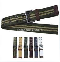 2014 New fashion South Korea Men Pin buckle belts Men's Lady Leisure joker stripe Canvas belt womens Military belt Free shipping