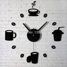 new 2015 sale time-limited real quartz wall clocks coffee diy clock fashion acrylic combination of watchesrushed freeshipping(China (Mainland))