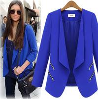 2014 European Hot Europe America Fashion Women Slim Long sleeve Zip Decoration Temperament Small suit Autumn&Winter New Arrival