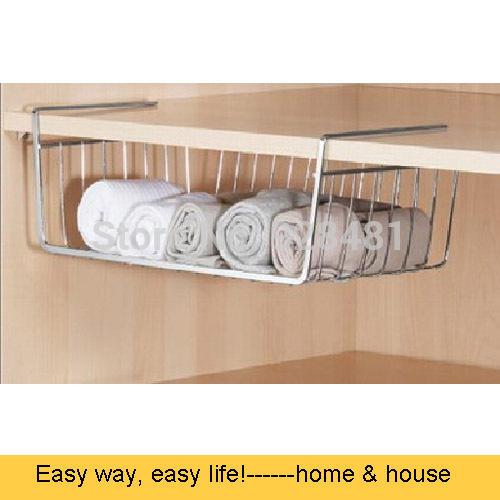 2pcs/lot Houseware Undershelf Basket Shelf Rack Kitchen Organizer Basket Storage Bins Chrome finish(China (Mainland))