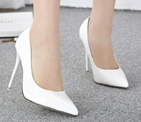 Free shipping 2014 new star style pointed toe Stiletto high heels shoes sexy lady fashion women pumps white red wedding shoes