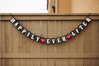 "Free Shipping! New"" HAPPILY EVER AFTER"" with 2 hearts wedding party banner bunting garlands"