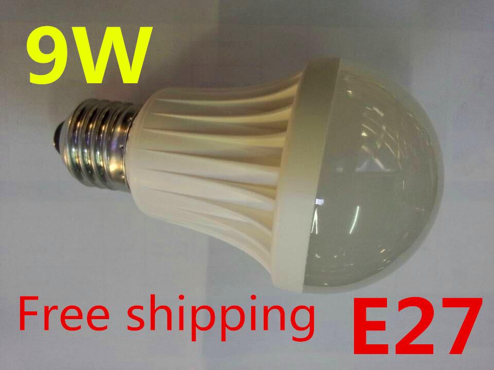Free Shipping E27 LED Bulbs 9W 220V 230V 240V led lamp white/ warm white LED lights LED Bulb(China (Mainland))