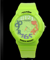 Sport Candy Color Watches Analog Quartz 3D Number Watches Young People Student Wristwatch Free Shipping XWT038