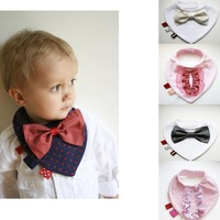 Ladies gentlemen modeling a variety of cotton bow tie waterproof burp clths baby rice bibs wholesale 10pcs/lot free shipping