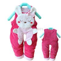 2014 New baby casual winter warm pants character rabbit children bib clothing 2085