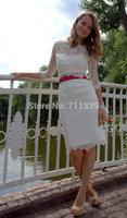 Hot White Ivory Sheath Wedding Dress Bridal gowns Half Sleeve Lace Knee-Length Custom