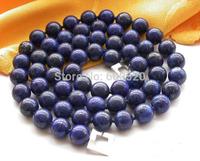 "32"" 12mm round blue lapis lazuli bead necklace"