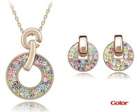 Rose Gold Plating Multicolored Crystal Round Shape Earrings Pendant Necklace Jewelry Sets