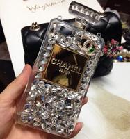 Cellphones Luxury Perfume Bottle Lanyard  Bling Diamond Case For iphone 5G 5s 4 4s samsung S4 S5 note 2 3 Handbag TPU Cover