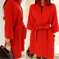 2014 New Autumn Winter Plus Size Woolen Trench Coat for Women Work Wear Casual Lady Overcoat Long Cloak Coats Red,Beige,Black