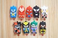 superhero cartoons Batman superman iron man spiderman usb 2.0 memory flash stick pen thumbdrive 128mb/4gb/8gb/16gb/32gb