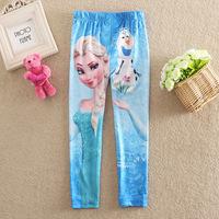 Wholesale Frozen Girls leggings Cartoon Princess Elsa & Anna Print Children Kids Pants Fashion Autumn Girl Trousers 6pcs/lot