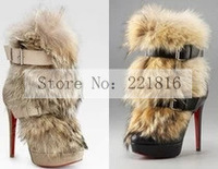 Free shipping 2014 ladies' high heels shoes women martin boots with fur warm winter women snow boots