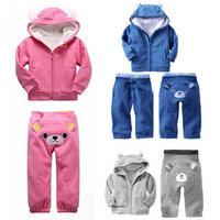 2014 G style Children's clothes Baby wear boys girls clothing sets kids long sleeves Sport suit children thick winter 3sets/lot