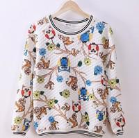 [Magic] many owl and squirrel both side printing women hoodies o neck long sleeve warm women's cotton sweatshirt 2 colors