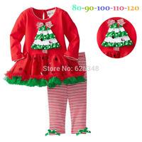 New 2014 christmas dress baby kids girls clothing set  kids dress + pants children's winter clothing sets girl Dress