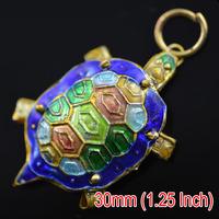 30mm Cloisonne Enamel Tortoise Metal Charms Mixed Color Charm Pendants Animal Decoration 10pc/lot
