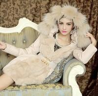 2014 New Arrival Luxury Style Slim Long Winter Down Parkas Coat Ladies Super Big Fur Collar Thick Outerwear Coat