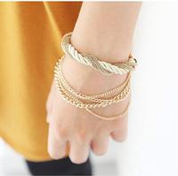 Min.Order $8.8(Mix Order) Wholesale 2014 New Women Fashion Layered Woven God Metal Chain Bracelet FB0025