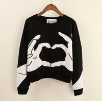 [Alice]free shipping 2014 new winter women's fleece hoodie ,Han edition of the new round collar fashion women's Sweatshirts