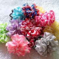 hair accessories Wholesale 30pcs/lot DIY 6.5cm Printed Chiffon Shabby chevron flower Garment ,Chevron Ballerina Flowers