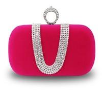 Women's Hot Diamond Ring Velvet Clutch U-shaped Rhinestone Evening Bags 3008 Free Shipping