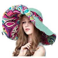Both Sides Wear 2014 flower ladies  summer beach hat women vacation sun hat uv  woman sun hat beach (about : 56-58cm)