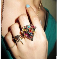 Min.Order $8.8(Mix Order) New Arrival Europe America Fashion Party Statement Rhinestone Women Rings FR0002