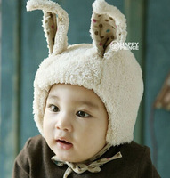 2014 New Cute rabbit style baby Winter Fur Hat with villi inner new bore infant Earflap Cap age for 3 months-12 months