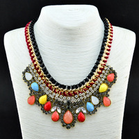 2014 Luxury Brand Fashion Neon Unique Double Chain Handmade Crystal  Necklaces & Pendants Sexy Women Jewelry Gift