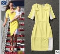 Vestidos Femininas Fashion Womens' Patchwork Knee-Length Half Sleeve Casual Dresses Kate Middleton Celebrity Dress Midi Dress