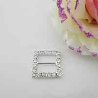 (FL744 inner bar 14mm)20 X Square Clear Crystal Rhinestone Buckle For Ribbon Slider