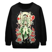 2014 Autumn Winter New Women Fashion Sexy zombie Skulls Moon Punk Digital Print Loose Pullover Sweatshirt Sweater Hoody S-G43