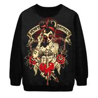 2014 Autumn Winter New Women Fashion Voodoo Skull Heart Breaker Punk Digital Print Loose Pullover Sweatshirt Sweater Hoody S-G39