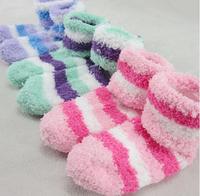 NEWS  winter Baby warm velvet striped  children's sock kid's indoor Floor socks  5 size  5pair/lot