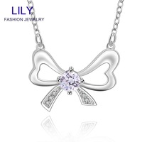 N600 Wedding Dress Necklaces Pendants Jewelry 925 Silver Chain Crystal Pendant Necklace Women Accessories Wholesale