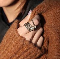 Min.Order $8.8(Mix Order) Wholesale 2014 Europe America Yong Girl Fashion Layered Metal Gold Silver Pearl Rings FR0004