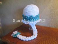 2014 NEW winter hot sale Frozen Elsa Anna Snow Queen Princess Caps handmade Hats Set Girls Kids Gift Children Accessories Top