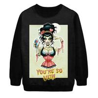 2014 Autumn New Women Fashion Harajuku YOU'RE SO VEIN Zombie digital Print Pullover Punk Sweatshirt Sweater Hoody Dropship S-G57