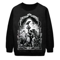 2014 Autumn Winter New Women Fashion Rest In Pieces Skulls Moon Punk Digital Print Loose Pullover Sweatshirt Sweater Hoody S-G42