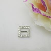 (FL746 inner bar 10mm)20 X Delicate Square Clear Crystal Rhinestone Buckle For Ribbon Slider