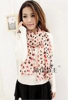 2014 new autumn winter love heart peach chiffon scarf women scarf sunscreen shawl 2 colors