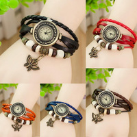 Free Shipping New Fashion Butterfly Beautiful Wrist Watches Leather 5 Color In Stock