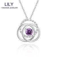 N595 Wedding Jewellery Amethyst Jewelry 925 Sterling Silver Purple Zircon Pendant Necklace Christmas Gifts Wholesale