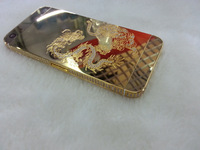 New Pattern Mirror Gold Replacement Full Mirror Gold Housing Metal Material Back Housing For iPhone 5S Free Shipping