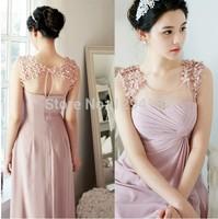 Elegant Tank Appliques Sleeveless Women Chiffon Long Evening Dress 2014 Vestido