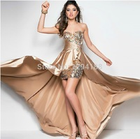 XXXL 2014 New Arrival Custom Made Sexy Beatiful Sweeteart Sequins Satin Sheath High Low Prom Dress Party Dresses