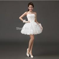 vestido vermelho Party Dresses Lace Organza Multi Layer Puffy Summer White 2014 Homecoming Dress Short Bridesmaid Dresses